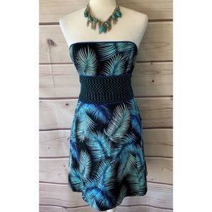 EUC Free People Palm Leaves Strapless Dress